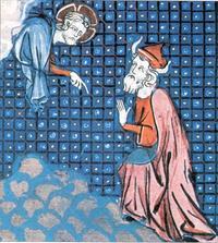 Abb. 3 Gott spricht mit Mose ('Bible historiale' des Guiart des Moulins; 14. Jh.)