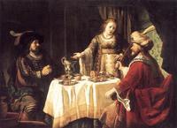 Abb. 6 Ester, Ahasveros und Haman beim Festmahl (Jan Victors; 17. Jh.).