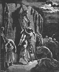 Abb. 5 Die Jabeschiten retten die Leichen Sauls und seiner Söhne (1Sam 31,11-13; Gustav Doré, 19. Jh.).