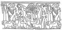 Aus: O. Keel / Chr. Uehlinger, Götter, Göttinnen und Gottessymbole (QD 134), Freiburg 5. Aufl. 2001, Abb. 52; © Stiftung BIBEL+ORIENT, Freiburg / Schweiz