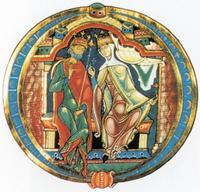 Abb. 1 Salomo und Sulamith; Initiale der Winchester-Bibel (12. Jh.)