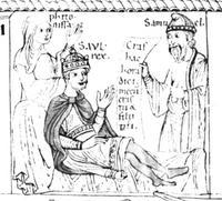 Abb. 4 Samuel kündigt Saul den Tod an (in: Pétrus Lombardus, Expositio in Psalmos; 12. Jh.; Bamberg, Staatlich Bibliothek, ms 59 fol 3r.).