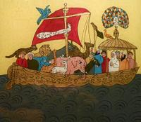 Abb. 2 Noah in der Arche (anonyme Hinterglasmalerei aus Tunesien; 20. Jh.).