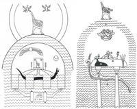 Aus: O. Keel, Das sogenannte altorientalische Weltbild, BiKi 40 (1985), 157-161, Abb. 14 (Abb. 8a); I. Cornelius, The Visual Representation of the World in the Ancient Near East and the Hebrew Bible, JNSL 20 (1994), 193-218, Abb. 10 (Abb. 8b)