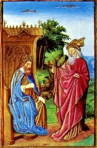 "Abb. 1 Nathan und David (Jean Colombe, Illustration zu Ps 32, aus dem Stundenbuch des Duc de Berry ""Très Riches Heures""; 1485-1489)."