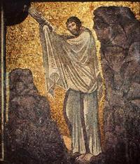 Abb. 1 Mose erhält die Zehn Gebote (Mosaik im Katharinenkloster auf dem Sinai; 6. Jh.).