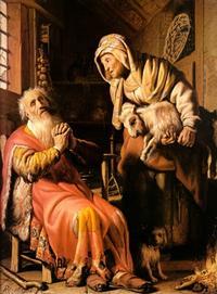 Abb. 3 Tobit wirft seiner Frau Diebstahl vor (Rembrandt; 17. Jh.).