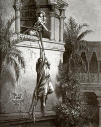 Abb. 2 Michal lässt David durchs Fenster entkommen (Gustave Doré; 1865).