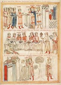Abb. 1 Davids Vermählung mit Michal / Hochzeitsmahl / Abschied von Michal und Flucht (Buchmalerei; 12. Jh.).