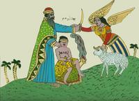 Abb. 9 Opferung Ismaels (anonyme Hinterglasmalerei aus Tunesien; 20. Jh.).