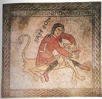 Abb. 1 Simson tötet Löwen (Mosaik in St. Gereon in Köln; 12. Jh.).
