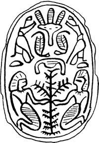 Aus: O. Keel / Chr. Uehlinger, Götter, Göttinnen und Gottessymbole (QD 134), Freiburg, 5. Aufl. 2001, Abb. 14a; © Stiftung BIBEL+ORIENT, Freiburg / Schweiz