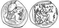 """Zeichnung von © Izaak de Hulster, Utrecht, für den WiBiLex-Artikel """"Jahwe"""" nach der Vorlage von Y. Meshorer / S., Qedar, Samarian Coinage (Numismatic Studies and Researches 9), Jerusalem 1999, 15"""