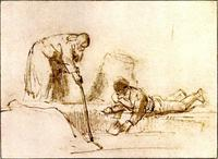 Abb. 5 Elisa bringt eine Axt zum Schwimmen (Rembrandt, 1650).
