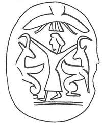 Aus: O. Keel / Chr. Uehlinger, Göttinnen, Götter und Gottessymbole. Neue Erkenntnisse zur Religionsgeschichte Kanaans und Israels aufgrund bislang unerschlossener ikonographischer Quellen (QD 134), Freiburg / Basel / Wien 5. Aufl. 2001, Abb. 361c (© Stiftung BIBEL+ORIENT, Freiburg / Schweiz)