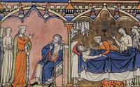 Abb. 1 Abigajil erzählt Nabal von ihrer Begegnung mit David und Nabal stirbt (Kreuzritterbibel; 13. Jh.).