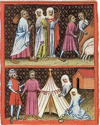 Abb. 3 Laban sucht die Terafim (Wenzelsbibel; 14. Jh.).