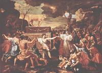 Abb. 2 Die Anbetung des Goldenen Kalbs (Nicolas Poussin; 1633-1637).