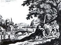 Abb. 1 Zwei Kundschafter mit der Riesen-Traube (Matthäus Merian d. Ä.; 1625-1630).