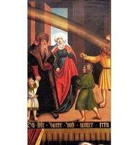 Abb. 1 Das Elterngebot; Detail aus: Die Zehn Gebote; Gemälde von Lucas Cranach, geschaffen für die Gerichtsstube im Rathaus zu Wittenberg (1516; heute im Refektorium des Lutherhauses).