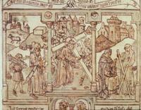 Abb. 1 Isaak und Christus unter der Last des Holzes (Biblia pauperum; Mittelalter).