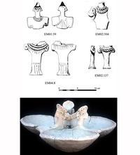 Abb. 9 Frühbronzezeit IVB (EME 5): Anthropomorphe Terrakotten und – aus Räumen I und II unter dem Tempel des Baal – Dreifachschale mit Applikationen.