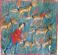 Abb. 3 Simson verwüstet die Felder der Philister (Oktateuch von Watopédi; 13. Jh.).