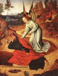 Abb. 4 Ein Engel rettet Elia (Dierick Bouts; 15. Jh.).