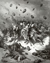 Abb. 3 Jahwe wirft Steine auf Israels Feinde (Gustave Doré; 19. Jh.).
