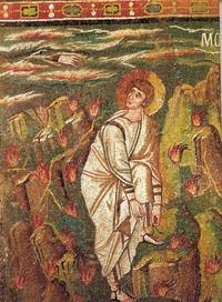 Abb. 1 Mose vor dem brennenden Dornbusch (Mosaik in San Vitale in Ravenna; 6. Jh.).