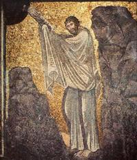 Abb. 5 Gott gibt Mose am Gottesberg die Zehn Gebote (Mosaik in der Kirche des Katharinenklosters am Fuß des Mosebergs auf dem Sinai; 6. Jh.).