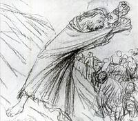 Abb. 1 Der Prophet als machtvolle Persönlichkeit (Ernst Barlach, Zorniger Prophet, Kohlezeichnung 1918/19).
