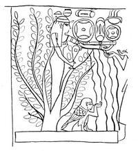 Aus: O. Keel, Ägyptische Baumgöttinnen der 18.-21. Dynastie – Bild und Wort, Wort und Bild, in: ders., Das Recht der Bilder gesehen zu werden. Drei Fallstudien zur Methode der Interpretation altorientalischer Bilder (OBO 122), Freiburg (Schweiz) / Göttingen 1992, 61-138, Abb. 79; © Stiftung BIBEL+ORIENT, Freiburg / Schweiz